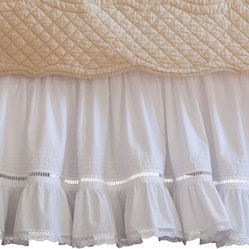 Taylor Linens - Prairie Crochet King Bed Skirt - Fresh white cotton, pintucked and ruffled at the bottom, makes this bedskirt look like a vintage girl's petticoat. Details like hemstitching and crochet lace edging complete the nostalgic look. Dress your bed in this sweet undergarment before finishing with an antique cottage-style quilt.