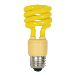 SATCO Lighting - 13W 120V T2 E26 Mini Spiral CFL Yellow Bulb by SATCO Lighting - Have the summer sun streaming in at any time of day with this 13W yellow CFL light bulb from SATCO Lighting. It will make the room, and any visitor's disposition, all the sunnier. Satco, headquartered in Brentwood, NY, designs and manufactures a variety of high-quality lighting products for residential and commercial applications.