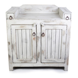 FoxDen Decor - Farmhouse Vanity with Distress Finish, 36x20x32 - A farmhouse vanity with a white and grey distressed finish. The vanity is hand crafted, made to order and made from 100% solid wood. The two drawers on top are fully functional and are great for small items like combs, tooth brushes, or tooth paste.  The space below is open. The top is sealed and protected against any water damage.