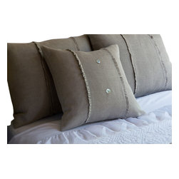 Taylor Linens - Hampton Natural Porch Pillow - You'll adore the linen voile adorning this divine porch pillow. Outfitted with mother-of-pearl buttons and cheeky ruffled flourishes, this oversize pillow comes complete with a feather and down insert for long-lasting comfort.