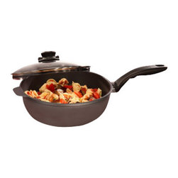 """Swiss Diamond - Induction Nonstick Saute Pan with Lid - 3.2 qt (9.5"""") - Swiss Diamond  guarantees High-quality performance with the Swiss Diamond Induction (9.5 inch) Induction Saute Pan.   This pan is designed to cook vegetables, meat, sauces, and more.  This roomy pan allows you to stir up your favorite recipes. The heavy-duty cast aluminum body will never warp and warms contents evenly and efficiently. Searching for an induction-compatible Saute Pan? Look no further  thanks to advanced technology Swiss Diamond induction cookware is guaranteed not to buzz on your stovetop. The diamond-reinforced nonstick coating ensures easy clean up, no scrubbing or soaking required! Oven safe up to 260C (500F). Includes heat-tempered glass lid with adjustable steam vent."""