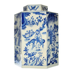 Blue and White Chinoiserie Jar - Celebrating a tradition of  timesless style, our six sided blue and white porcelain jar features an intricately detailed chinoiserie scene.