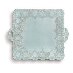 Merletto Aqua Square Platter with Handles - A vintage lace pattern deeply borders the Merletto Aqua Square Platter, a handled serving dish with a stunning and romantic vintage air that easily elevates the grace of your vignette or table setting.  The scalloped floral lace states its refined presence in a tone of grey achieved by the rich black porcelain clay showing softly through pale aqua-blue glaze.  Quiet color and luxe texture make this square platter an instant focal.