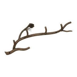 Stone County Ironworks - Wall Coat Rack - Versatile and hand-forged piece. Can be used as a coat rack in hallway, as a hat rack in entry, as a robe hanger in bathroom or a place to hang dish towels in the kitchen. Gold or copper highlights showcase the pine cone and needles. Made from iron.  23.5 in. W x 4 in. D x 5 in. H (10 lbs.)Dazzling hand-forged realism reflected in the natural beauty of this evergreen conifer. The gifted black-smith artisans here in the hills of Arkansas make every effort to translate every detail, from the rustic elegance of a hand-made pine-cone, to the warm texture of hammered bark. Transform any room by bringing the great outdoors inside.