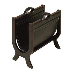 BZBZ71379 - Sharp Leather N Wood Magazines Paper Rack Stand - Sharp Leather N Wood Magazines Paper Rack Stand. Striking leather Magazine Rack is 17 inches wide, 16 inches high and 10 inches deep. Elegant leather rack is fine addition to any home.