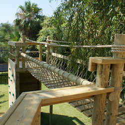 Rope Bridge and decks for treehouses by Treehouse Life - 'Wow-factor' Rope Bridge from treehouse platforms by Treehouse Life.