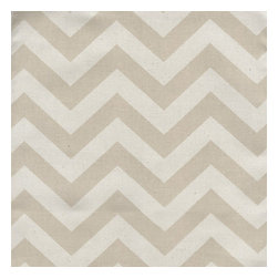 "Close to Custom Linens - 84"" Shower Curtain, Unlined, Zigzag Chevron Khaki Natural - Zigzag is a medium scale chevron in khaki on natural cotton. The stripes are 3/4 inch wide. Reinforced button holes for 12 curtain rings."