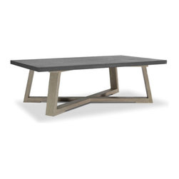 Brownstone Furniture Saratoga Coffee Table - The Saratoga table collection offers a unique blend of beautiful cement tops with solid oak bases. The architectural lines of the collection's design give an updated feel, while rich, smoke colored cement tops add depth and beauty that is special and distinctive.