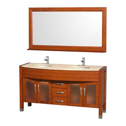 """Wyndham Collection - Daytona Bathroom Vanity in Cherry, Ivory Marble Top, White Porcelain UM Sinks - The Daytona 60"""" Double Bathroom Vanity Set - a modern classic with elegant, contemporary lines. This beautiful centerpiece, made in solid, eco-friendly zero emissions wood, comes complete with mirror and choice of counter for any decor. From fully extending drawer glides and soft-close doors to the 3/4"""" glass or marble counter, quality comes first, like all Wyndham Collection products. Doors are made with fully framed glass inserts, and back paneling is standard. Available in gorgeous contemporary Cherry or rich, warm Espresso (a true Espresso that's not almost black to cover inferior wood imperfections). Transform your bathroom into a talking point with this Wyndham Collection original design, only available in limited numbers. All counters are pre-drilled for single-hole faucets, but stone counters may have additional holes drilled on-site."""
