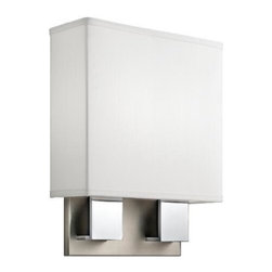 Kichler - Kichler Santiago 2-Light Brushed Nickel and Chrome Wall Light - 10439NCH - This 2-Light Wall Light is part of the Santiago Collection and has a Brushed Nickel & Chrome Finish. It is Energy Efficient, and Title 24 Compliant.