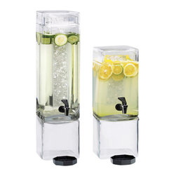 Cal Mil - 7.5W x 7.5D x 26.5H Square Clear Beverage Dispenser 3 Gallon Acyrlic 1 Ct - Showcase your beverages with this elegant and stylish beverage dispenser. Made from crystal clear glass or acrylic this dispenser elegantly displays colorful juices water iced tea and any other beverage of your choice. Each beverage dispenser features a removable ice chamber to keep your beverages cold and fresh