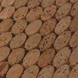 """Real Cork Round Mosaic Tiles - Real Cork Round Mosaic Tiles is a versatile, extremely durable, environmentally friendly material made from 100% post-industrial, granulated, and pressed cork by product from the Portuguese wine cork industry. These distinctive 1 inch cork disks ( think of 1/4"""" cut wine stoppers) are then affixed to 12×24 inch interlocking sheets for easy installation like any standard tile. These tiles are in their natural state and can be stained any color or used in wet applications by adding water based polyurethane to the final installation. Cork is a natural thermal insulator with great acoustic properties which are just a bonus to this very good looking distinctive tile. Whether it's commercial or residential, wet or dry, floors or walls, cork mosaic tiles are the do anything and always look stunning tile choice."""