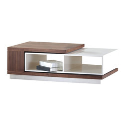 La Viola Decor - Zoom Contemporary Coffee Table - Brilliantly crafted and designed, portable and convenient, unique, rectangular and stylish - this Zoom coffee table is built and shaped like a piece of modern art and it is wonderfully accommodating.  Easily store books or trinkets in extendable sliding shelf, or decorate with flowers, pictures, and other items; this table looks great and fits in with many styles and tastes.  the uniqueness of this table marries style with comfort.
