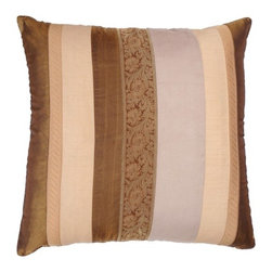 "Rizzy Home - T-2736 18"" Decorative Pillow in Ivory / Brown (Set of 2) - Distinctive and elegant, these decorative accent pillows are versatile enough to be used in any room of the home. Rich hues and textural accents will allow you to add your signature touch and create your own style. Features: -Color: Ivory / Brown. -Material: 100% Polyester. -100% Siliconized polyester fiber filler. -Zippered pillow cover with poly fill insert. -Machine wash separately."