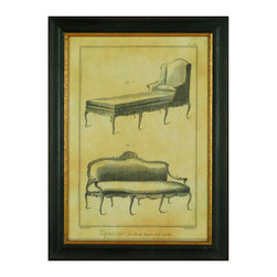 H. Hal Kramer Co. - H. Hal Kramer Co. Chic French Vintage Furniture Print II - Fine FurnitureSeat yourself in pure style with H. Hal Kramer Co.'s Chic French Vintage Furniture Print II. This unique illustration features two ornate furniture pieces—a tufted chaise lounge and a gorgeous settee. Use this print to add a classic, vintage touch to your transitional living room or your eclectic entryway. It's elegantly framed in black-and-gold wood and comes set under museum-quality glass. Feel free to swoon.Comes in a solid-wood frame and set under museum-quality glass