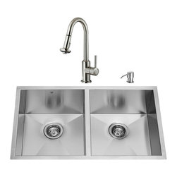 """VIGO Industries - VIGO All in One 32-inch Undermount Stainless Steel Double Bowl Kitchen Sink and - Add elegance and style to your kitchen with a VIGO All in One Kitchen Set featuring a 32"""" Undermount kitchen sink, faucet, soap dispenser, two matching bottom grids and two sink strainers."""