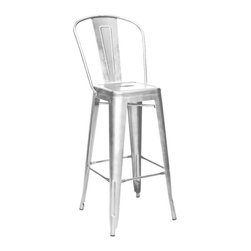 Design Lab MN - Amalfi Galvanized Steel High Back Barstool Set of 4 - The amalfi steel stackable barstool is a fantastic designed barstool to add to any restaurant, bistro or coffee house. This barstool is produced in galvanized rolled steel which can withstand any high traffic area. Produced by Design Lab MN, this product is manufacturer to highest standards in the furniture industry.