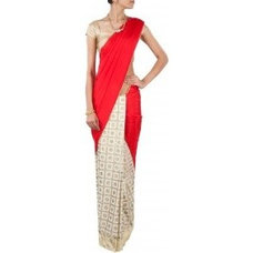 Red and gold polka saree available only at Pernia's Pop-Up Shop.