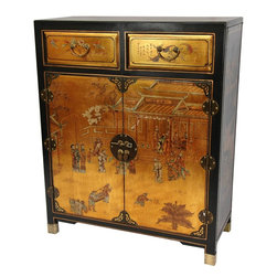 Oriental Furniture - Gold Lacquer Two Drawer Cabinet - This luxuriant cabinet features a hand-painted Chinese courtyard scene on gold leaf. It is hand-crafted with traditional Asian frame cabinetry, round riveted brass door hinges, and a medallion hasp.