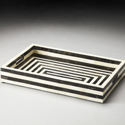 Zanzibar Black Bone Inlay Serving Tray - This versatile black and white tray is the perfect accessory for any modern living room, contemporary bedroom or classic kitchen.