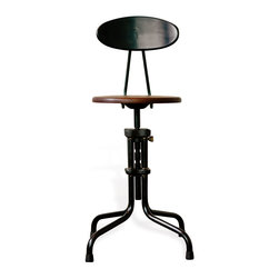 Kathy Kuo Home - Brexton Adjustable Height Cast Iron Industrial Desk Dining Stool with Back - One showstopper of a stool, this adjustable beauty are a functional masterpiece, recalibrating to fit standard dining tables as well as high bar tables and kitchen counters. Seemingly pulled straight from an industrial workshop of sorts, this bar stool with back is crafted from reclaimed cast iron collars paired with solid hardwood done in a deep mahogany finish. Masculine and streamlined, modern yet classic, the beauty of this stool is in the details. And lest we forget comfort - they're as comfortable as can be. Enjoy a one year warranty on this piece.