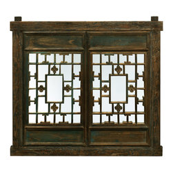 China Furniture and Arts - Window Shutter Wall Panel - Once used as window shutters in a traditional village house in Zhe Jiang Province, China, our hand carved hardwood window panel will no doubt supply its own special intrigue on whatever surface it decorates. For an added decorative charm, a mirror is mounted behind the panel. This unique panel is one-of-a-kind art work to collect. Metal hanger included.