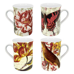 Konitz - Set of 4 Assorted Botanical Mugs - The Assorted Botanical Mugs showcase nature in all its splendor. Set includes four designs: Butterfly, Bird, Flowers, and Butterflies. Inside each mug is picture printed on the bottom.