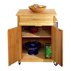 Catskill Craftsmen - Butcher Block Cart with Flat Doors - Butcher block top. Adjustable internal shelf. Drawer and cabinet storage. Locking caster wheels. Nickel plated towel bar. Metal drawer glides. Warp resistant side and back panels. Made from solid hardwood. Oiled finish. Made in USA. Drawer: 16.5 in. L x 12.25 in. W x 4 in. H. Table top: 24 in. L x 17 in. W. Interior cabinet: 20.5 in. L x 14 in. W x 22.25 in. H. Overall: 25.13 in. L x 17 in. W x 34.5 in. H. Care Instructions. Assembly Instructions
