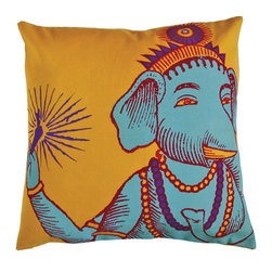 KOKO - Ganesh Pillow, Yellow - A little bit of the Hindu god of auspicious beginnings and good fortune would be a welcome addition to any home! The bright colors in this pillow are happy too. You could mix this with a collection of prints and solids for an eclectic seating area.