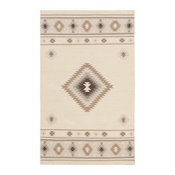 """Surya - Surya Southwest Jewel Tone II Beige 3'6""""x5'6"""" Rectangle Area Rug - With tempting tribal designs intermixed with vibrant coloring each of the radiant rugs found within the Jewel Tone II collection by Surya will retain elements of tempting trend in your space. Hand woven in  wool each of these perfect pieces will uphold the timeless tradition of hand made decor that pairs pristinely alongside a chic charm that will be utterly incomparable from room to room within any home decor."""