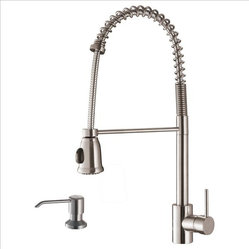 Ruvati - Ruvati RVF1215K1ST Pullout Faucet with Soap Dispenser - This premium Ruvati kitchen faucet from the Cascada collection is constructed of solid brass giving it exceptional durability. The ceramic disc cartridge ensures drip-free functionality. The faucet can be installed into countertops up to two inches thick. Hot and cold water connection hoses are included.