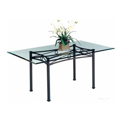 Tempo Industries - Seville Rectangular Table Base (Standard Fini - Finish: Standard Finish - Matte BlackGentle curves and a circle motif enhance this metal table base.  Available in your choice of metal finishes, the rectangular base is ready for your choice of topper and looks great topped with one of the optional bevel glass tops as shown.  The design of this dining table is such that it can easily co-exist in a room with other furniture without creating a conflict of styles.  Perfect for a room that currently has intricate decor, this dining table can stand on its own just as easily as it can be combined with other decorations. * Designed for in home or commercial use. Made in USA. Some assembly may be required. Base can support up to 200 lbs.. 24 in. W x 46 in. L x 30 in. H