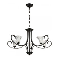 ParrotUncle - Antique 6 Lights Black Iron Chandelier with Clear Glass Shades - Antique and elegant, this chandelier is an eye-catching addition to your living space. This candelabrum style chandelier features a solid black iron frame and artistically curving arms holding 6 attractive glass shades shaped like flowers. It casts a warm and welcoming glow when illuminated, a perfect choice for style, ambient and comfort.