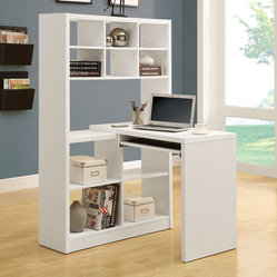 Monarch Specialties 7022 Left or Right Facing Corner Desk in White Hollow-Core