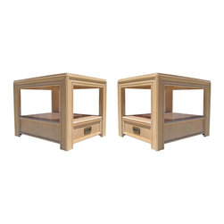 """Tables & Case Pieces - These wooden side tables by Lane Furniture Co. features an open frame with a woven rattan and glass top. Hidden in the base is a single pull-out drawer with a brass pull that is marked inside, """"Lane, Altavista, Georgia."""" - See more at: http://www.galeriesommerlath.com/inventory/pair-architectural-side-tables-rattan-top-lane/#sthash.iyOj1aJy.dpuf"""