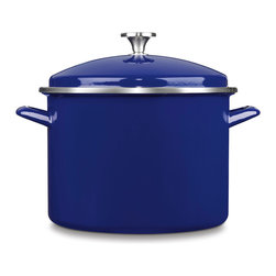 Cuisinart Chef's Classic Enamel on Steel 10 Quart Stockpot Cobalt Blue - A kitchen essential! Every kitchen needs a big stockpot and this heavy duty Cuisinart classic promises the performance of a lifetime. Slow-simmer chili or sauce and steam large batches of vegetables. Prepare big pots of homemade soup or cook up a family-favorite stew. Safe for all burner types including induction.