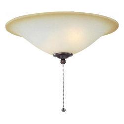 Joshua Marshal - Three Light Oil Rubbed Bronze Wilshire Glass Fan Light Kit - Three Light Oil Rubbed Bronze Wilshire Glass Fan Light Kit