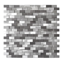 Eden Mosaic Tile - 3D Raised Brick Pattern Aluminum Mosaic Tile, Gray Blends - This ain't your grandma's kitchen backsplash. Raised brushed aluminum tiles jut out in seeming randomness across this mosaic sheet, creating a contemporary 3D landscape of silvery shades. Use it anywhere in your home that needs a boost of modernity. Samples are approximately 1/6 to 1/4 of a regular sized sheet. Please note: Sample tiles are not returnable. Only one sample per style is allowed. Only five samples may be ordered.