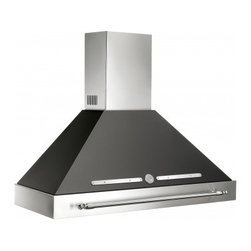 """Bertazzoni - KC48 HER NE 48"""" Required Island Canopy for K48HERX Hood in Black - Matching the 48 Heritage design this hood ventilation system with mesh filters has a base assembly in stainless steel and canopy in matching color There are three settings for different extraction levels Two halogen lights give bright worktop illumin..."""
