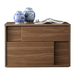 Rossetto - Square Right Walnut Nightstand - This square walnut nightstand is for the right side of your bed for easy access to the sliding doors. It offers a stylish design that reveals its quality workmanship and clean design elements. The 90 degree angles in this sharp rectangular design follows all the way down to the floor, presenting a neat look. This minimalist design is for those who prefer the absence of hardware or other decorative elements and instead are looking for a clean and sophisticated presentation. The high quality wood veneer makes it a quality choice and one that's sure to last for many years. Sliding cabinet doors offer a flair that's lacking in other comparable choices. Made in Italy, this follows new trends in today's modern bedroom furnishings designs, yet still defines those timeless elements that transcend the styles.