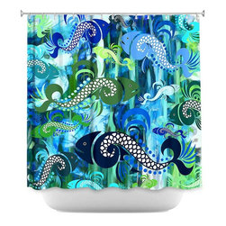 DiaNoche Designs - Shower Curtain Artistic - Plenty of Fish in the Sea I - DiaNoche Designs works with artists from around the world to bring unique, artistic products to decorate all aspects of your home.  Our designer Shower Curtains will be the talk of every guest to visit your bathroom!  Our Shower Curtains have Sewn reinforced holes for curtain rings, Shower Curtain Rings Not Included.  Dye Sublimation printing adheres the ink to the material for long life and durability. Machine Wash upon arrival for maximum softness on cold and dry low.  Printed in USA.