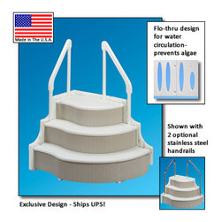 Blue Wave - Blue Wave I/G Grand Entrance Step - In-Ground Grand Entrance Step Attractive, Sturdy And Economical In-Ground Step Gives You The Grand Entrance Your Pool Deserves. Exclusive Snap-Together Interlock Design Allows Step To Ship Via Ups, Saving You Money. Simple Assembly With Minimal Parts Will Have You In And Out Of Your Pool In No Time. Durable, High Density Polyethylene Construction Meets All Current Ansi/Apsp Standards. Unique, Two-Handrail Design Provides Safe And Stable Entry. Grand Entrance Comes Standard With Resin Handrails Or Upgrade To Optional Stainless Steel Rails (Sold Individually). State-Of-The-Art 3-Step Design Features Wide, Flat Steps With Non-Slip Texture. Flow-Through Sides Allow For Water Circulation To Prevent Algae Growth. Independent Adjustable Feet Ensure Safe Level Installation. Sturdy Construction Holds Over 800 Lbs; 53; Width, 42; Depth, 36; Height Base To Top Step; Requires Weight To Prevent Step From Floating; Pools With Liners Should Use A Step Pad To Protect Liner; 1-Year Warranty Optional Stainless Steel Rails Are Sold Individually. A Single Rail Can Be Used - Plugs Are Provided To Fill In The Holes Left If Only One Stainless Steel Rail Is Installed.