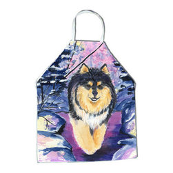 Caroline's Treasures - Finnish Lapphund Apron SS1054APRON - Apron, Bib Style, 27 in H x 31 in W; 100 percent  Ultra Spun Poly, White, braided nylon tie straps, sewn cloth neckband. These bib style aprons are not just for cooking - they are also great for cleaning, gardening, art projects, and other activities, too!