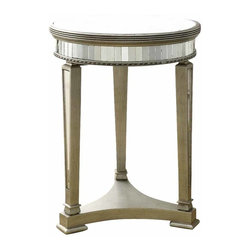 Monarch Specialties - Monarch Specialties 20 Inch Round Mirrored Accent Table in Silver, Light Wood - Be adventurous and add this mirrored accent table into to your living space. Its circular form, outlined with rectangular shaped mirror details are sure to catch anyone's eye. Its sturdy three legged, triangular shaped base provides full support, allowing you to place picture frames, vases and decorative pieces on its smooth mirrored surface. Don't wait to add this must-have table to your home! What's included: Accent Table (1).