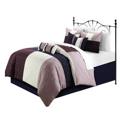 Chic Home - Zinfandel Plum Queen 8 Piece Comforter Bed in a Bag Set - This pieced quilted patchwork comforter set is so elegant yet sophisticated and modern. Color blocking tone on tone add a very colorful yet extra sharp look. Soft floral embroidered are also a plus to create that old world charm to any room Decor. Oversized and Overfilled.