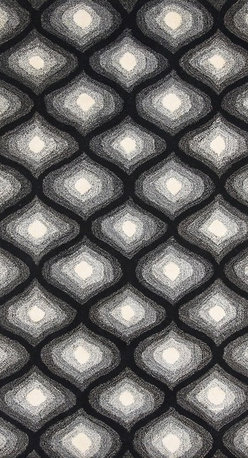 Alliyah Rugs - Black & White Geomatric Rug, Black, 9x12 - Alliyah Handmade New Zealand Blended Wool Rug with Black & White color. Antique Washed.