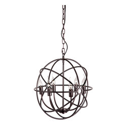 Zuo Modern Contemporary, Inc. - Hazenite Ceiling Lamp Rust - If you ever wanted to hang a futuristic space ball in your living room, we have you covered. The Hazenite Ceiling Lamp also has the six clear bulbs covered. By a metal cage that disperses the lamp's warm glow.