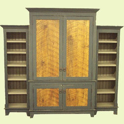 Antique Barn Wood Armoire with Two Bookshelves - This rustic armoire created from reclaimed antique barn wood is rich with history and character. Custom made from high quality, reclaimed and recycled doors, floor boards, siding and other original components of New England's historic barns.