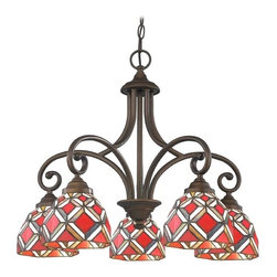 Design Classics Lighting - Chandelier with Multi-Color Glass in Neuvelle Bronze Finish - 717-220 GL1035 - Tiffany neuvelle bronze 5-light chandelier. Takes (5) 100-watt incandescent A19 bulb(s). Bulb(s) sold separately. UL listed. Dry location rated.