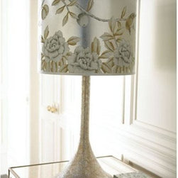 Jamie Young Co. - Jamie Young Co. Hammered Metal Table Lamp - Hand Hammered Platinum Finish Table Lamp with Hand Painted Silk Drum Shade.  Other shades are available.